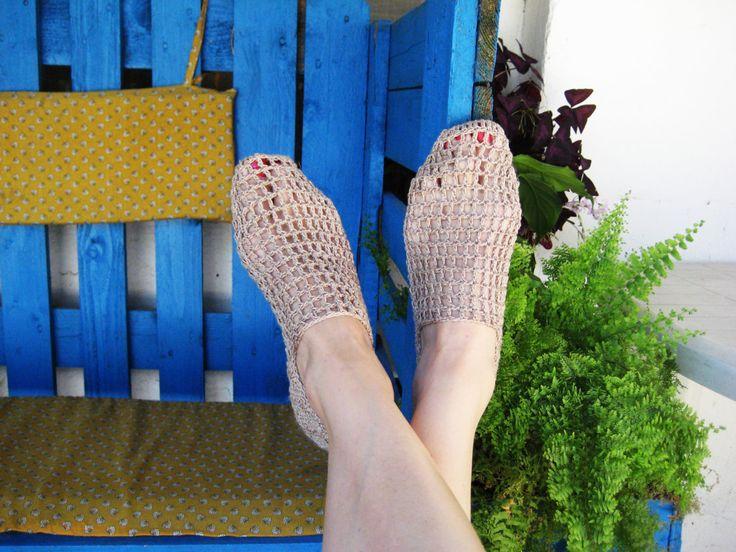 Eko Ladies Slippers, Summer slippers, beige slippers,Len slippers, Elegant slippers, gift for her, Modern slippers, Crochet slippers by BoryanacrochetBG on Etsy