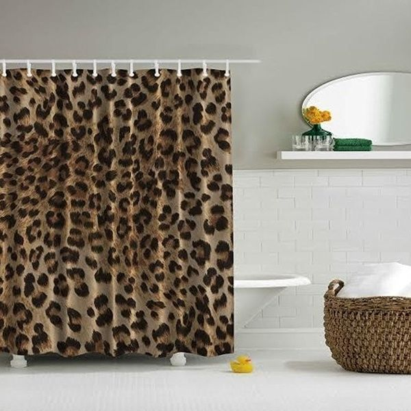Deluxe Leopard Print Design Digital Graphic Shower Curtain Set Non