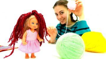 Прическа из ниток  http://video-kid.com/21430-pricheska-iz-nitok.html  #Русалка - любимая кукла Штеффи! #Штеффи очень нравятся волосы Русалки, такие длинные и красивые