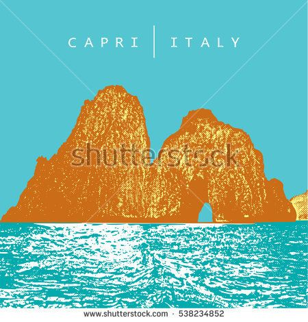 Capri, Italy. Colored vector illustration of of the famous place - coastal rocks Faraglioni.   The vector image is the result of auto-trace. It is adapted for easy use.