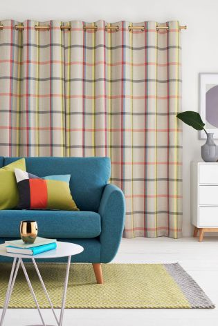 Buy Multicoloured Woven Check Eyelet Curtains Studio Collection By Next from the Next UK online shop