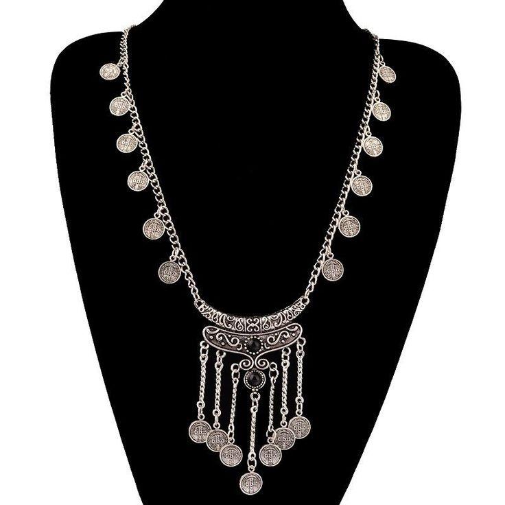 $15 Classic Bohemian Silver Coin Black Gem Necklace