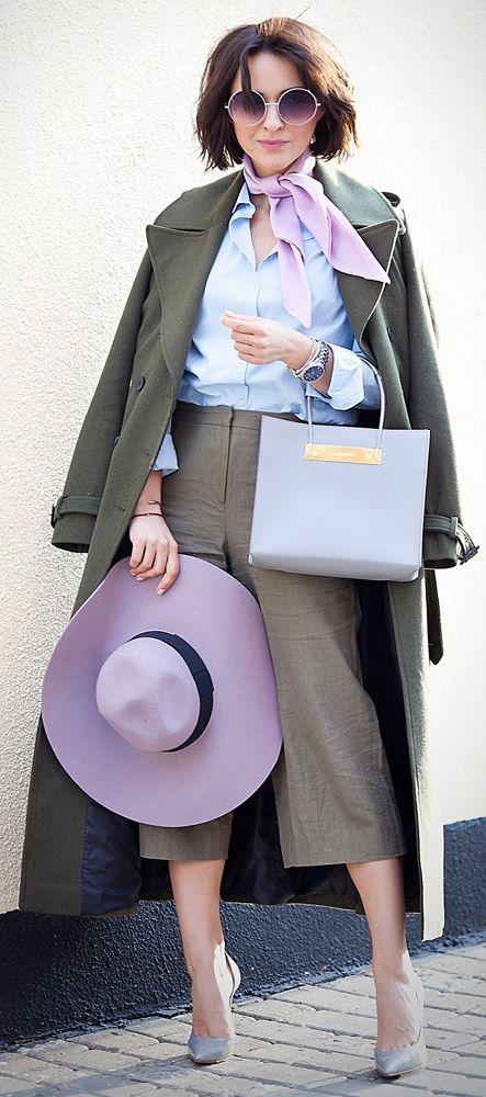 khaki outfit   military coat   lilac scarf   balenciaga cable shopper bag   khaki asos culottes   spring outfit ideas  