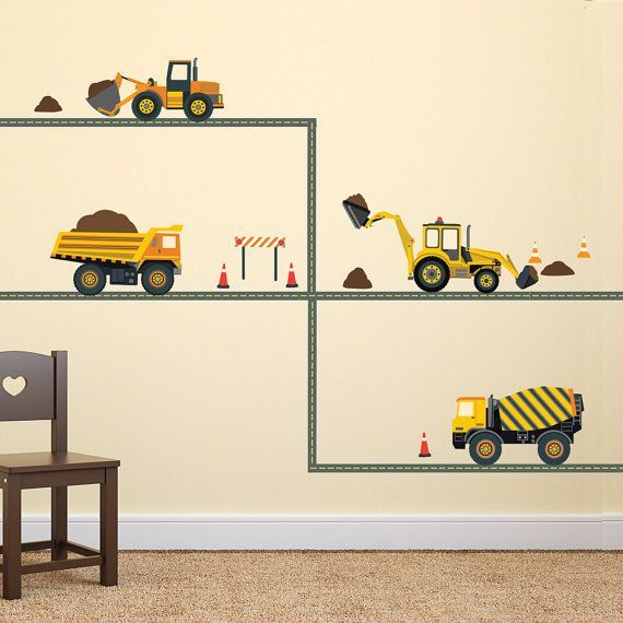 Construction Wall Decals Four Construction Vehicles with Straight Road Decals, Eco-Friendly Fabric Wall Stickers Removable & Reusable Sandra Miller