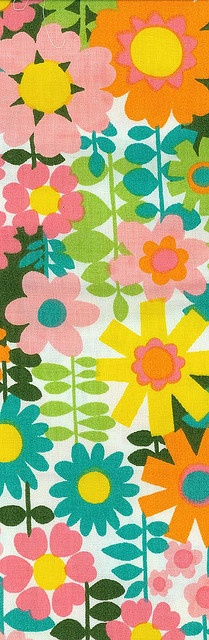 Pretty Vintage Fabric - Turquoise, pink, green, orange, and yellow.
