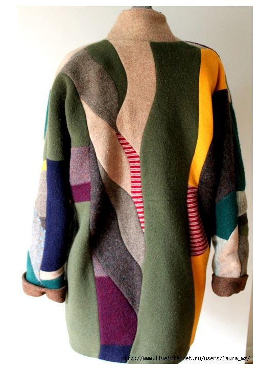 Back view of coat made from old sweaters.