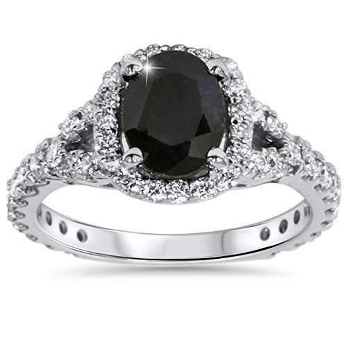 #blackdiamondgem 2.25CT Black Sapphire & Diamond Cushion Halo Engagement Ring 14K White Gold by Pompeii3 Inc. - See more at: http://blackdiamondgemstone.com/jewelry/wedding-anniversary/engagement-rings/225ct-black-sapphire-diamond-cushion-halo-engagement-ring-14k-white-gold-com/#sthash.qFfi1uAx.dpuf