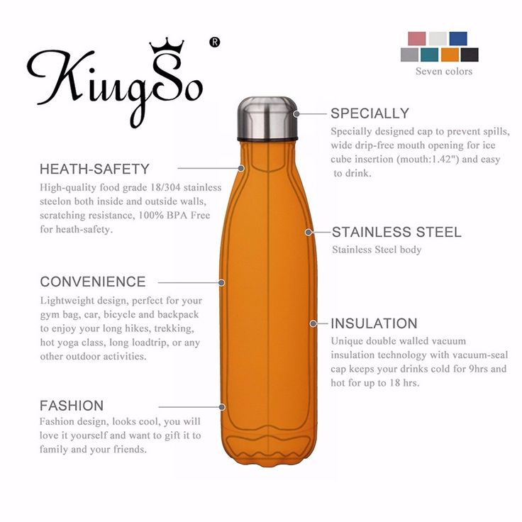 18oz KING DO WAY Vacuum Stainless Steel Water Bottle Bowling Double Wall Vacuum Insulation Cup