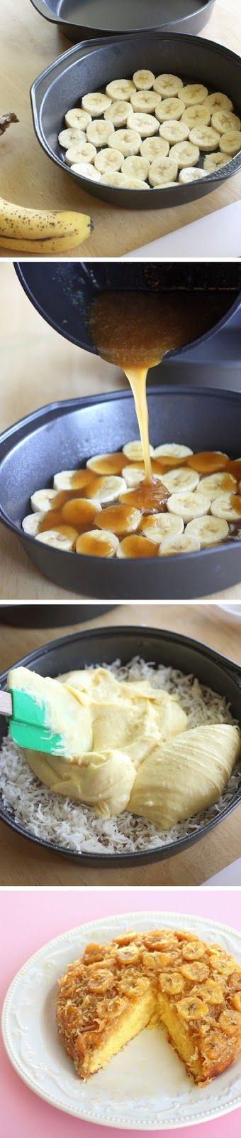 Bolo de banana de ponta a cabeça.  meio copo de açúcar mascavo e meio copo de  manteiga para o caramelo Banana em rodelas, coco ralado e  nistura.para bolo caseira de leite ou baunilha
