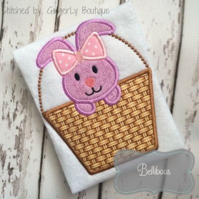 Girly Bunny in Basket Applique