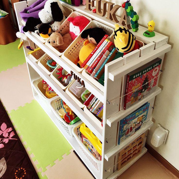 絵本収納/こども/ホワイトウッド/1歳半/簡単なDIY/おもちゃ棚…などのインテリア実例 - 2016-04-08 10:19:55 | RoomClip(ルームクリップ)