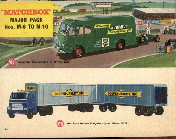 Matchbox Lesney 1966 catalog page 23, Major Packs, M-6 Racing Car Transporter & M-9 Inter-State Double Freighter