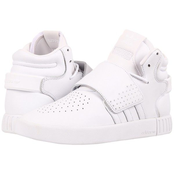 adidas Originals Tubular Invader Strap (Footwear White/Footwear... (11360 RSD) ❤ liked on Polyvore featuring men's fashion, men's shoes, mens high top shoes, mens high tops, mens white shoes, mens monk strap shoes and mens breathable shoes