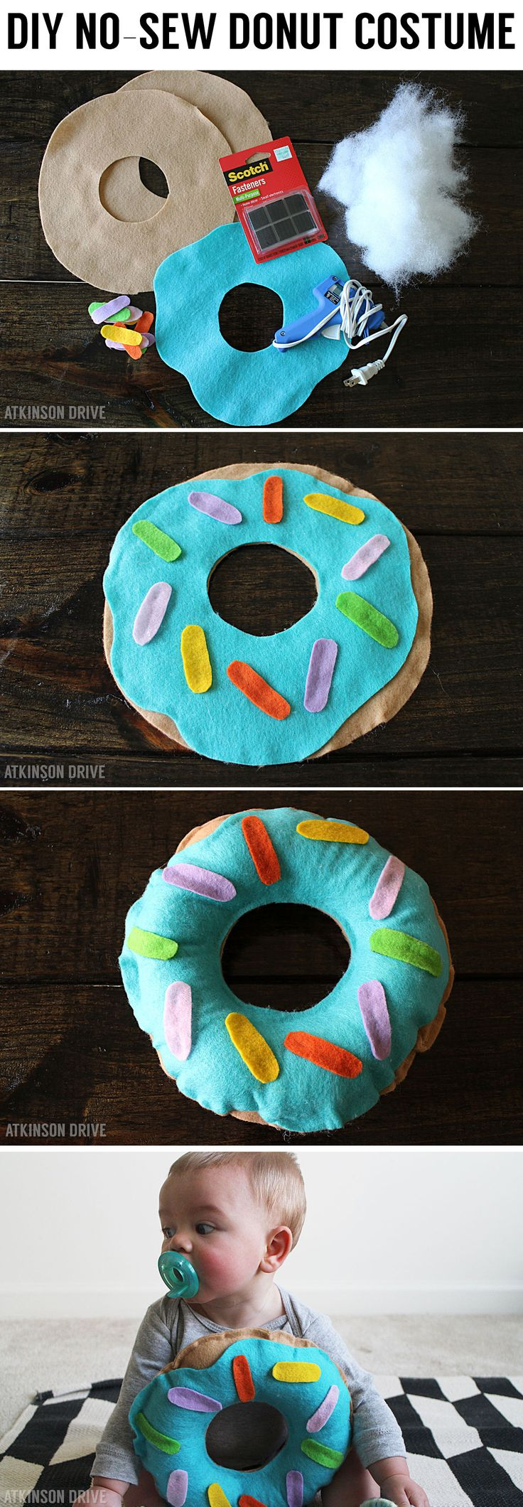 No-Sew Donut Halloween Costume by Atkinson Drive for Smart School House