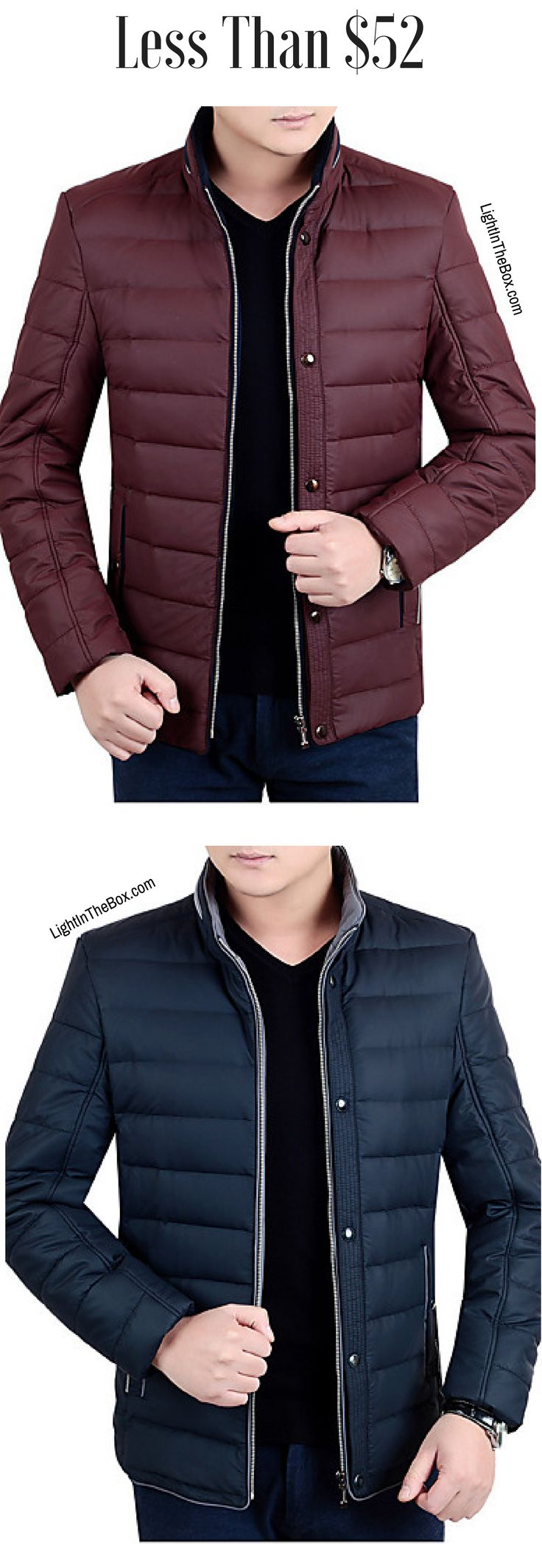Casual men winter parka jacket.Stay warm this season. Click on the picture to shop it it navy blue and burgundy wine colours at $51.99.