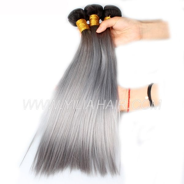 3 or 4 bundles Brazilian Straight Ombre 1b/grey Human hair extensions