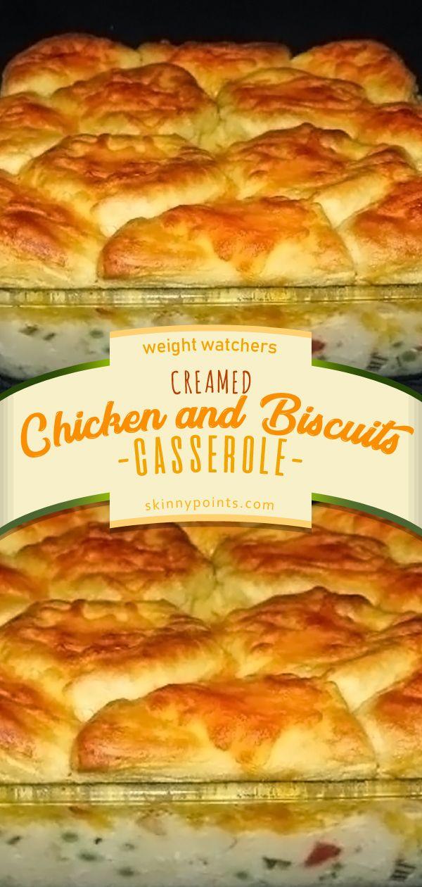 CREAMED CHICKEN AND BISCUITS CASSEROLE