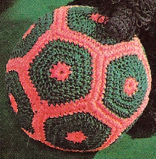 Motif Soccer Ball Stuffed Toy Vintage Crochet Pattern...a friend received one of these for her new babe...I thought it was so fun!