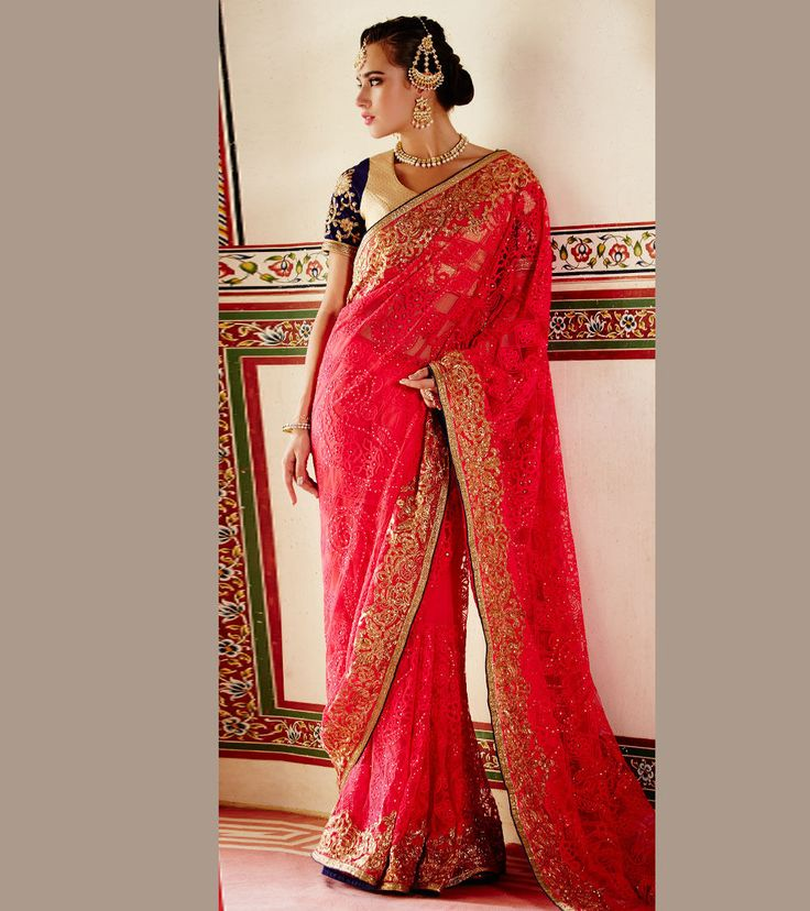 #Pink Embroidered #Net #Saree by #Kimora at #Indianroots Was $386 |Is $119