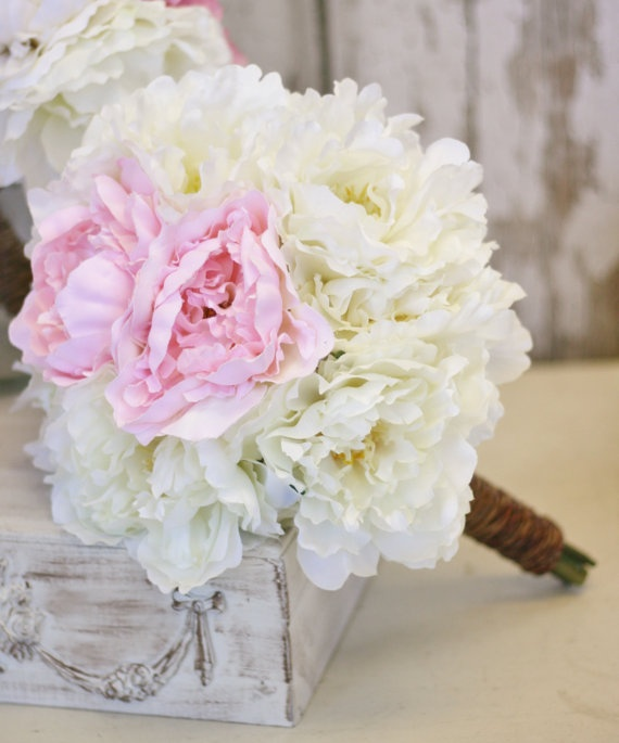 Silk Bridal Bouquet Peonies Peony Flowers Package Shabby Chic Vintage