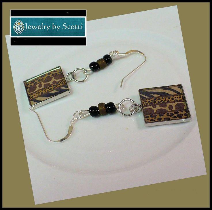 JEWELRY BY SCOTTI: Animal Print Earrings with Sterling Silver Hooks, Her Animal Jewelry, Her Tribal Earrings, Jungle Animal Theme Earrings, Statement Earrings www.jewelrybyscotti.com #handmade #handcrafted #gifts #jewelry #ooak #fashion