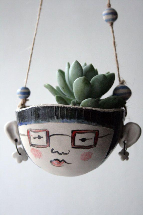 Ceramic hanging planter-Matilda hipster http://www.etsy.com/it/listing/124192349/ceramic-hanging-planter-eliza-hipster?ref=usr_faveitems_uid=5777827