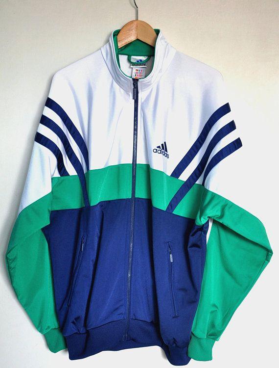 f2e2c796a Vintage 90s Adidas jacket, Adidas 3 stripes jacket, Men's sports jacket, track  jacket, hipster jacket, vintage colorblock zip up jacket, L