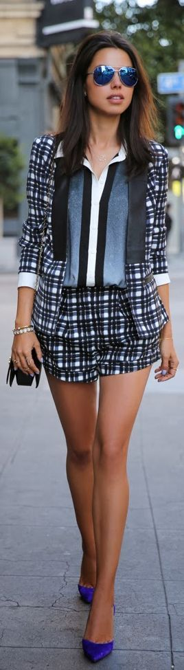 Love this matched print shorts and blazer!  Women's fashion