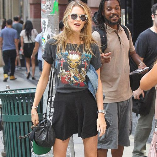 Top Models wearing band shirts | Selectd.  Behati Prinsloo Band t-shirt http://www.selectd.co/news/top-models-wearing-band-shirts