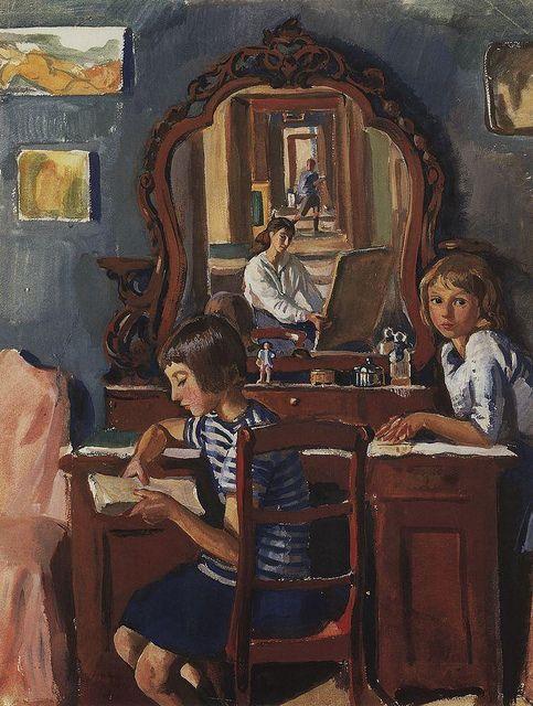 "Zinaida Serebriakova ""Tata and Katya and the Mirror"", 1917 (Russia, Art Nouveau / Mir Isskustva, 20th cent.)"