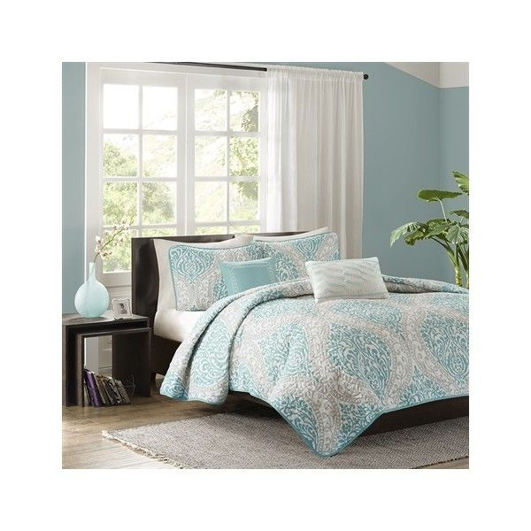 Intelligent Design Senna 5 Piece Coverlet Set ($72) ❤ liked on Polyvore featuring home, bed & bath, bedding, quilts, aqua, aqua bedding, intelligent design bedding, embroidered bedding, aqua blue bedding and embroidered pillow shams