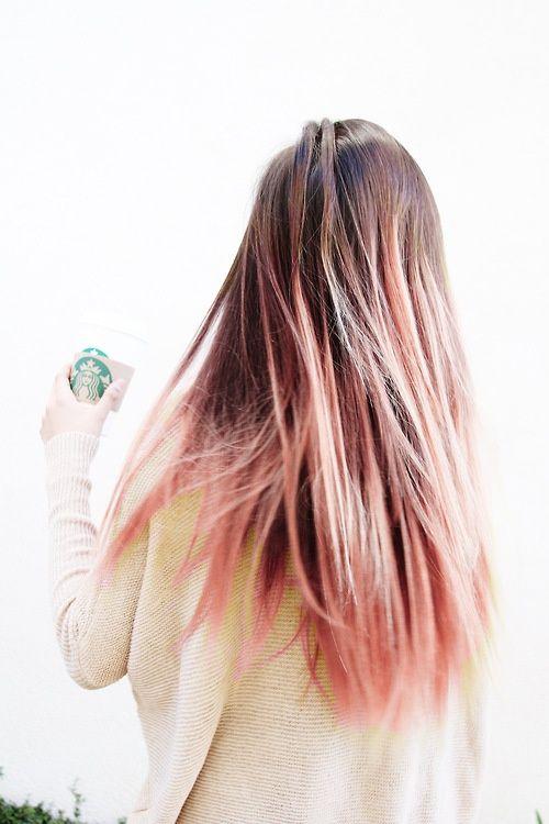 Brown hair + pastel pink dip-dye.