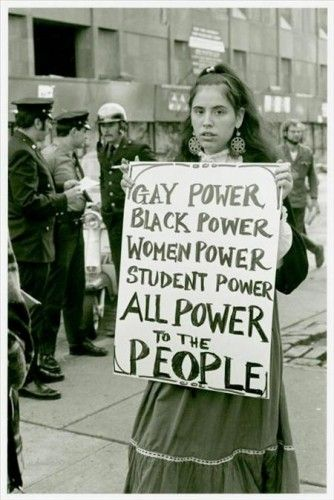 Gay Power, Black Power, Women Power, Student Power, ALL POWER to the People Protestor at Weinstein Hall demonstration, 1970