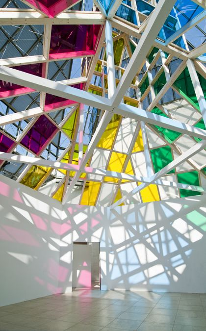 Daniel Buren | stunning geometric coloured glass roof balanced by white | architecture | design | form | light | balance