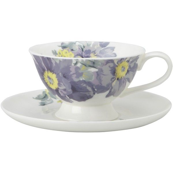 Laura Ashley Peony Garden Bone China Cup and Saucer Set ($13) ❤ liked on Polyvore featuring home, kitchen & dining, drinkware, bone china, laura ashley and floral mug