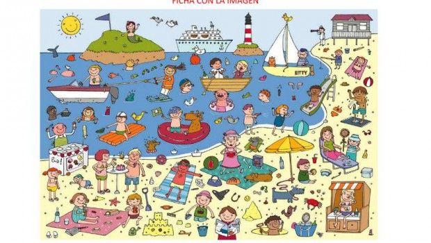 Taal, pragmatiek/integratie, praatplaat. thema: strand, vakantie, zee.