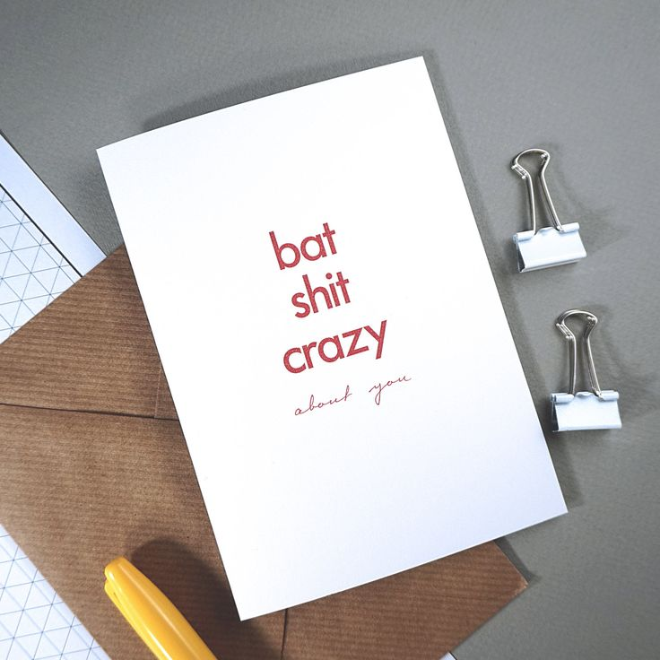 Valentines Day Card - *PRE-ORDER* - Bat Shit Crazy about you - A6 card with ribbed kraft envelope by RichLittleThings on Etsy