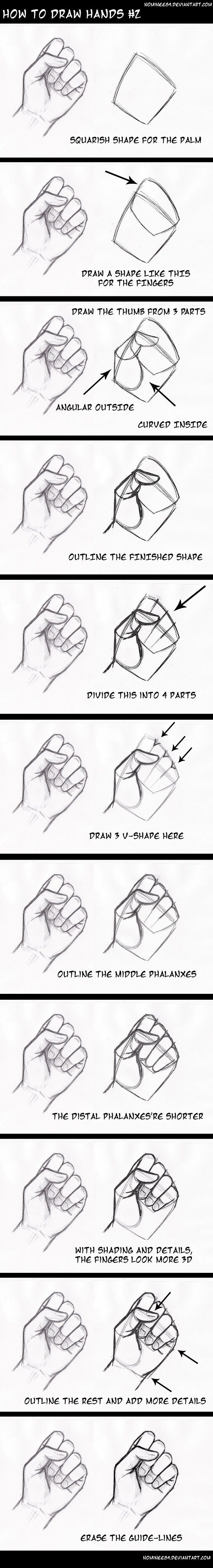 draw a closed hand step by step