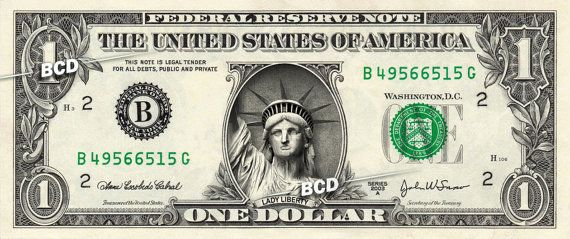 STATUE OF LIBERTY on Real 1.00 Dollar Bill  by VincentTheArtist