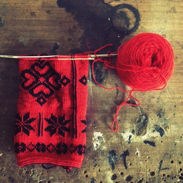 Twined knitting. Pattern from Dalarna, probably Floda, in Sweden