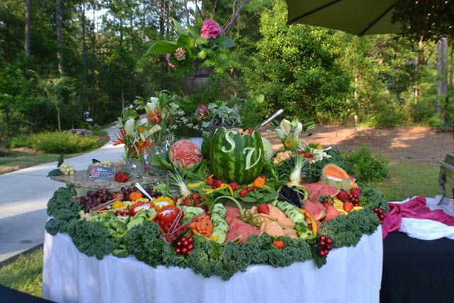 fruit display with personalized watermelon