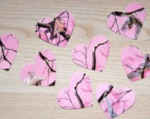 Pink RealTree camo heart confetti (large) - Pick your color. Baby shower confetti, camo decor, country wedding, hunting themed party
