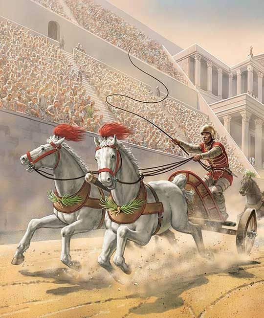 During Pax Romana Romans celebrated 130 holidays as well as teams of charioteers competing in races in the circus maximus. Other holidays crowds watched gladiators.
