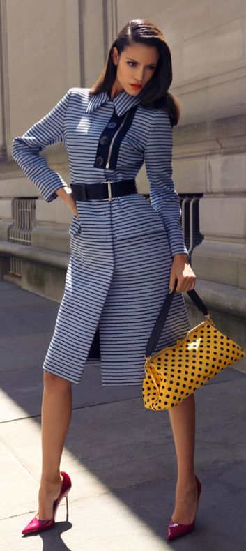 Sofia Resing in Miu Miu striped Outfit & Pointed Bag + Manolo Blahnik Heels #Shoes #Manolos.     Love the bag!!!