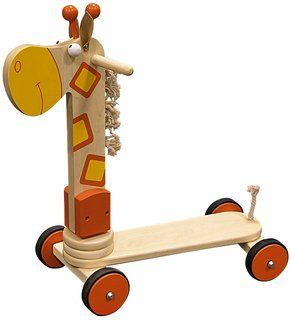 A wooden scooter like no other.   This wooden scooter is a great ride on toy for any toddler.  Featuring rubber enforced wheels and rounded handlebars, AGE :  2+    Materials :  wood    Measurements :  55 x 24 x 55 cm | approx 21.65 x 9.45 x 21.65 inches
