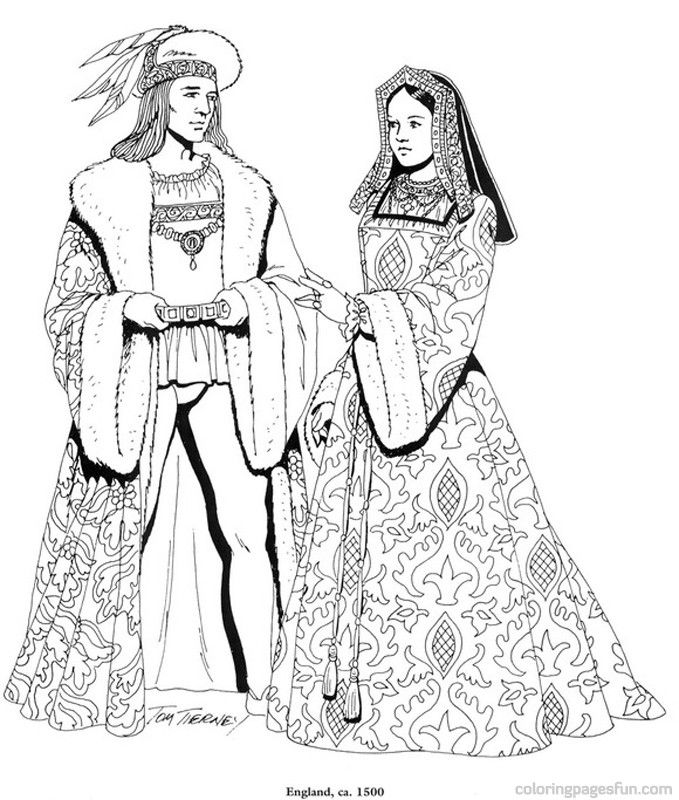 Renaissance Costumes and  Clothing Coloring Pages 20