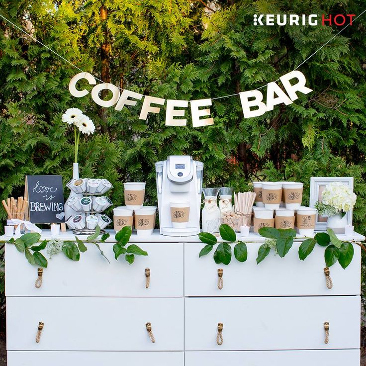 A #coffeebar is a perfect #DIY idea for all you coffee lovers planning your special day. It adds a unique and modern touch for everyone to enjoy at reception and dance the night away!