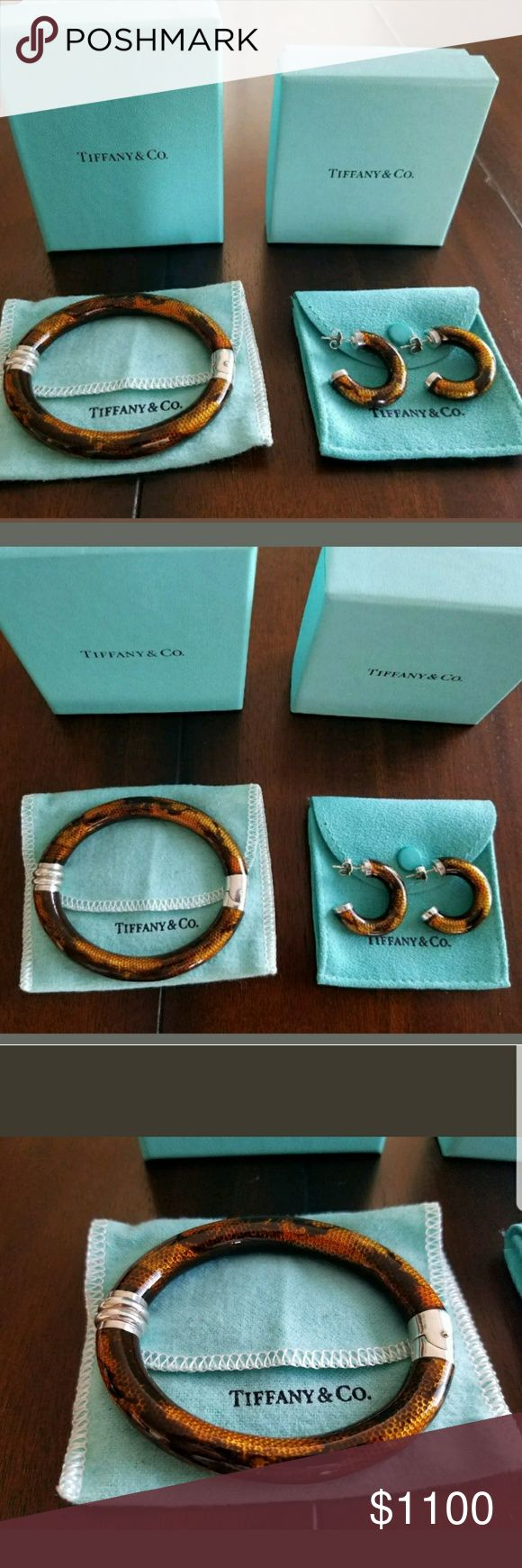 Tiffany & Co Sterling enameled earrings bracelet Vintage one of a kind set  Tiffany and Co  Enameled bracelet and earrings set  Authentic 100 % guaranteed Tiffany & Co. Jewelry