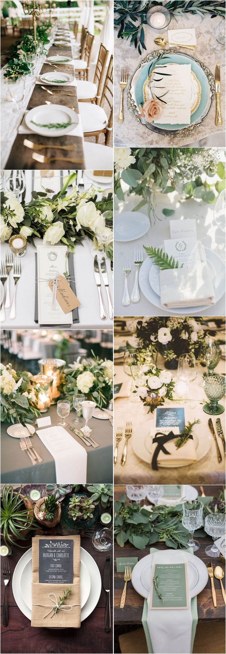 20 Creative Greenery Wedding Place Setting Ideas