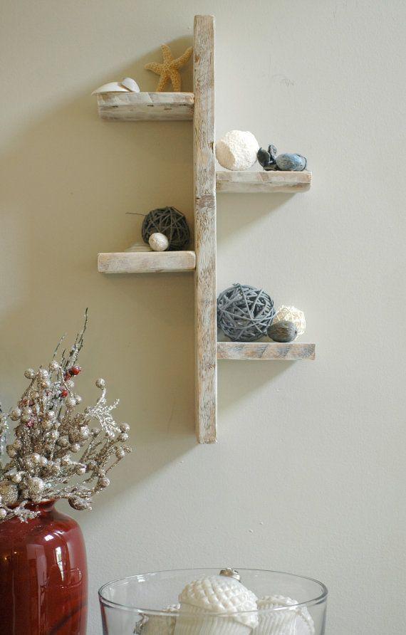 Four Tier White Rustic Shelf Decorative Shelf White Shelf